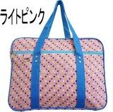 【sale】おしゃれなマルチドット女の子キッズ向けマチ付き大きめナイロンレッスントートバッグ/ピンク