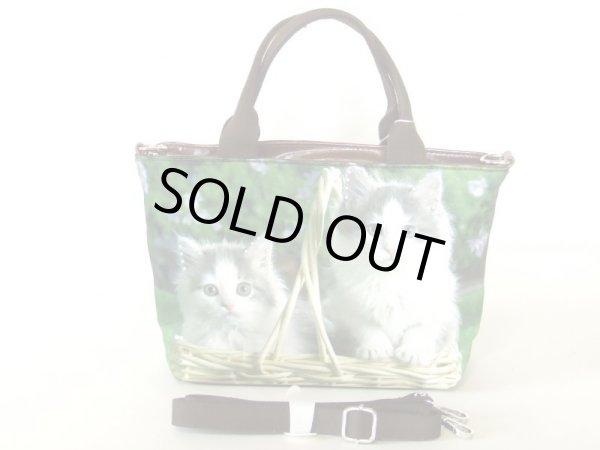 画像1: 【sale】可愛い小猫2匹転写2way手提げバッグ (1)