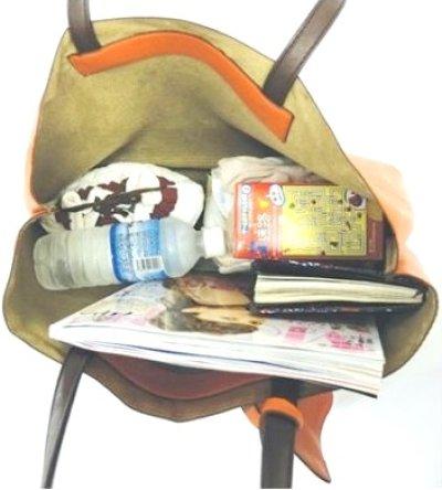 画像1: 【特売】RANAポーチ付き軽量シンプルトートバッグ茶