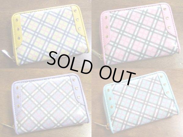 画像1: ラメ入りチェック柄二つ折り財布(4色有)【メール便ok】 (1)