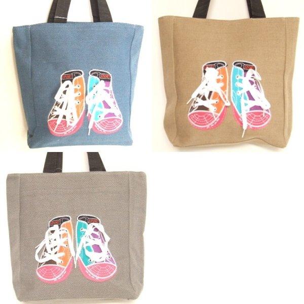 画像1: 【sale】メンズ&レディースおしゃれな靴スニーカー軽量大きめキャンバストートバッグ(3色有) (1)
