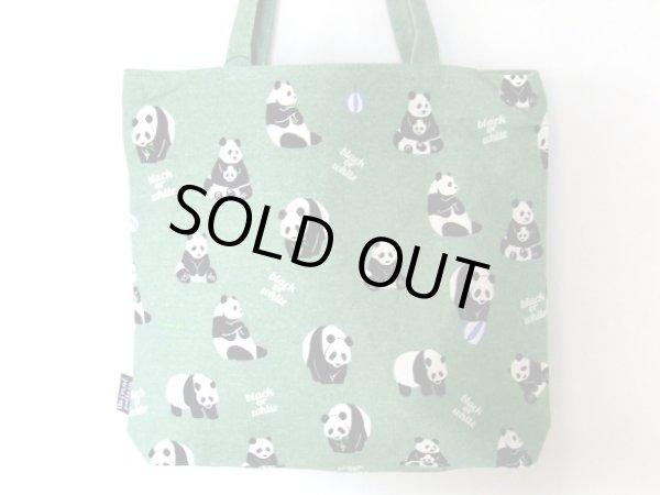 画像1: パンダ総柄可愛いトートバッグ緑【メール便ok】 (1)