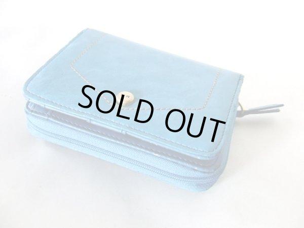 画像1: 【訳あり】カードポケット16箇所付き爽やかな色合いのターコイズブルーのレディース二つ折り財布 (1)