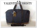 VALENTINO CHRISTYレディース英字ロゴテープ2WAYボストンバッグ/黒