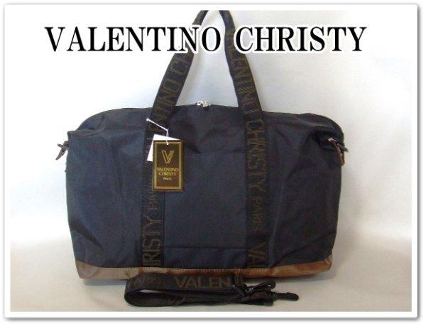 画像1: VALENTINO CHRISTYレディース英字ロゴテープ2WAYボストンバッグ/黒 (1)