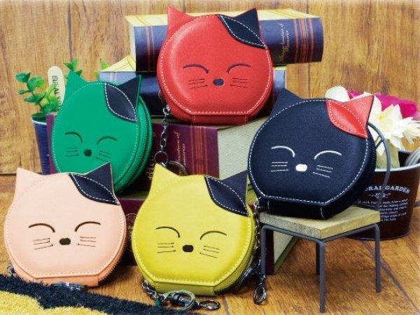 画像1: レディース&キッズに人気!しっかりした作りのかわいいキャットフェイス刺繍入り合皮ポーチ・コインケース(5色有) (1)