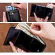 画像7: <sale>本革レザーRenameシンプルなレトロ調3つ折りコンパクト財布メンズ/ブラック (7)