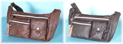 画像3: 【sale】CUBIC COREシボ感のあるオシャレなフェイクレザーウエストバッグ(3色有)【メール便ok】