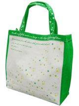 【sale】クローバープリントのおしゃれなレディース向けキャンバストートバッグ/緑【メール便ok】