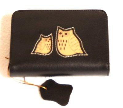 画像3: レディース向けコンパクトで使いやすい化粧箱入りふくろう本革がま口二つ折り財布(2色有)