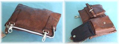 画像1: 【sale】ウエスト&ミニショルダーバッグとして使えるシボ感のあるオシャレな2WAYバッグ(3色有)