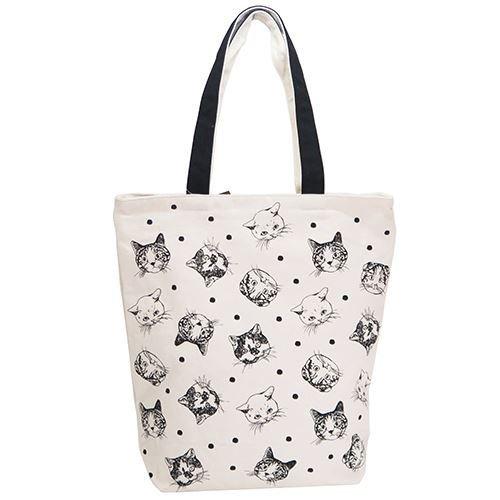 猫顔イラストトートバッグメール便ok58897 ゆめのれんcomオンライン